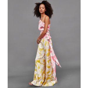 NWT Zara Yellow Floral Paisley Print Palazzo Pants